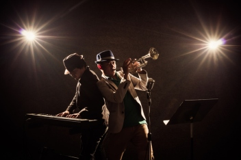 musical concept, Musicians playing a Trumpet and keyboard