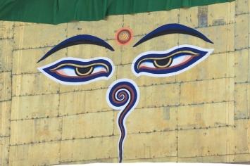 The Buddha's eyes on Swayambhunath Stupa.